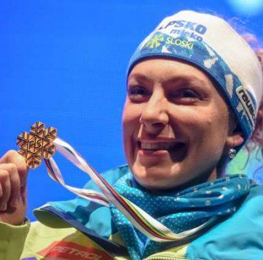 Sprejem svetovne prvakinje v smuku Ilke Stuhec.
