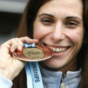 Dobitnica bronaste kolajne v troskoku na dvoranskem svetovnem prvenstvu v Valencii Marija Sestak.